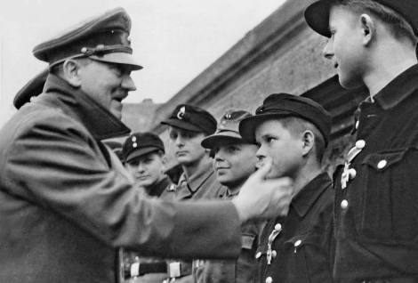 Hitler with the youth defenders of Berlin.