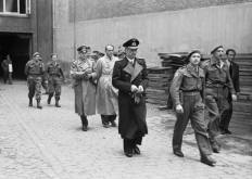 Three members of the Flensburg Government, General Alfred Jodl, Dr Albert Speer, and Grand Admiral Karl Dönitz, after their arrest by the Allies.