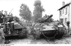 Panthers in a French village, Summer 1944.