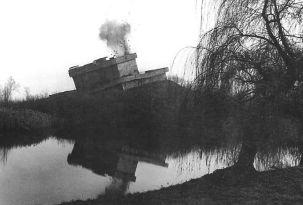 A Tiergarten Flakturm being blown up, November 1952.