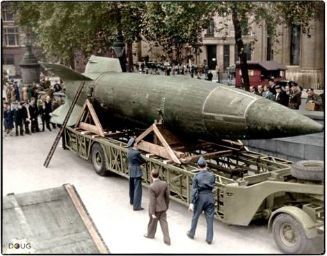 A captured German V-2 rocket on display in Trafalgar Square, London. Saturday 15th of September 1945.