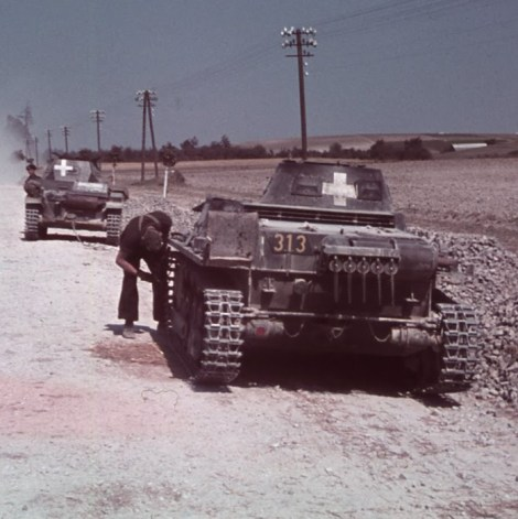 A rare colour slide of Panzer I and II's during the invasion of Poland, 1939.