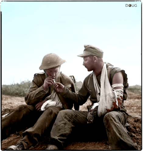 A wounded German prisoner of the 15th Panzergrenadier Division, Tunisia.