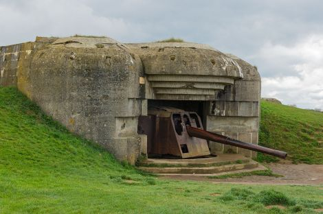 One of the casemates of the Longues-sur-Mer battery in Normandy, destroyed by naval gunfire during the Allied landings.