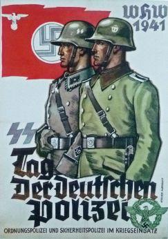 Nazi propaganda poster (1941) depicting Sicherheitspolizei and Ordnungspolizei personnel.