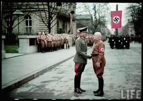 Braunes Haus (Münich) on the commemoration of the Beer Hall Putsch, 9 November 1938. Eugen Ritter von Schobert shakes hand with Julius Frankenführer Streicher (Gauleiter Franken).