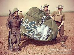 British soldiers retrieving part of the tail section belonging to Messerschmitt Bf.110C-4