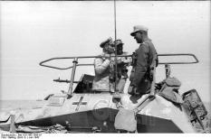 Erwin Rommel in his command halftrack, SdKfz.250/3.