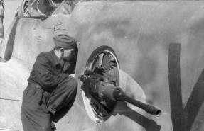 The FDSL 131 remote gun turret of an Me 210 being maintained.
