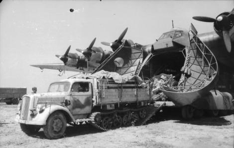 Opel Maultier exiting a Me-323.