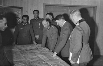 Adolf Hitler with generals Keitel, Paulus and von Brauchitsch, discussing the situation on the Eastern Front in October 1941.