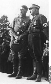 Adolf Hitler and Ernst Röhm inspecting the SA in Nuremberg in 1933.