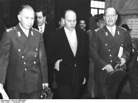 Blank (center) with Bundeswehr General Hans Speidel and Adolf Heusinger.