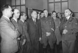 Rudolf Heß, Heinrich Himmler, Philipp Bouhler, Fritz Todt and Reinhard Heydrich (from left), listening to Konrad Meyer at a Generalplan Ost exhibition, 20 March 1941.