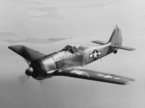 Captured Fw 190A-5, WkNr. 150 051 in U.S. Navy tri-color scheme.