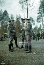 From left to right: unidentified Gebirgsjäger officer, General der Infanterie Karl Weisenberger (Kommandierender General XXXVI. Gebirgskorps), Generalleutnant Hermann Tittel (Kommandeur 169. Infanterie-Division), and Generalmajor Anton Dostler (Kommandeur 163. Infanterie-Division). The picture was taken in 1942, when Generaloberst Eduard Dietl (Oberbefehlshaber 20. Gebirgsarmee) visiting troops in the polar region of war (Finland/Norway).