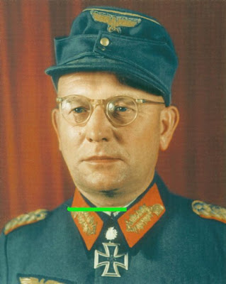 Walter Melzer wearing Eichenlaub which he received on 23 August 1944.