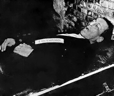 Kaltenbrunner's body after execution by hanging on 16 October 1946.