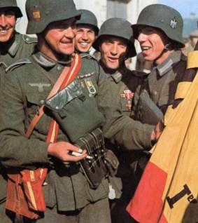 "Spanish ""Division Azul"" members with their flag."