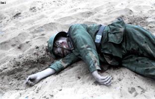 Fallen soldat in the Soviet Union, June or July 1941.