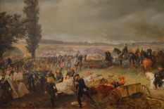 King Wilhelm I on a black horse with his suite, Bismarck, Moltke, and others, watching the Battle of Königgrätz.