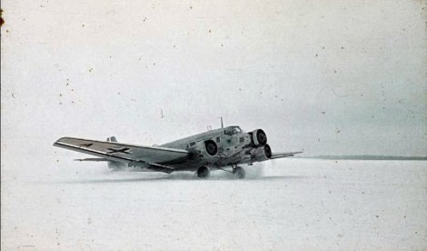 Winter landscape: a Junkers Ju 52 transport plane in white winter camouflage colours prepares to take off in the snow after the onset of the Russian winter.