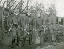 German soldiers wearing gas masks, 1916.