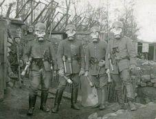 German soldiers wearing gas masks, 1916.
