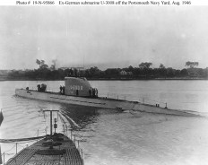 German submarine U-3008 in Portsmouth Naval Shipyard, Kittery, Maine.