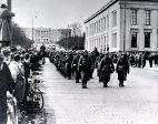 German soldiers marching through Oslo on the first day of the invasion.