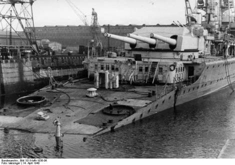 Heavy Cruiser Lützow in Kiel after being torpedoed on her way back from Norway. in Kiel, April 14, 1940.