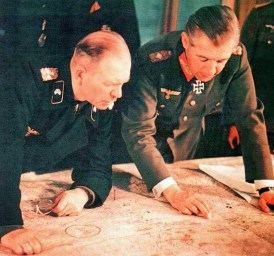 Generaloberst Heinz Guderian (Generalinspekteur der Panzertruppen) and Generalleutnant Walther Wenck (Chef des Generalstabes 1. Panzerarmee) planning the next operation (possibly Unternehmen Zitadelle/Kursk), Spring 1943.