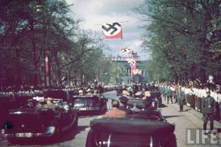 Adolf Hitler enters Vienna for Austrian plebiscite, 10 March 1938.