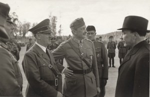 Hitler, Marshal Mannerheim, Finnish Army chief; and Finnish President Ryti meet, Imatra — June 1942.