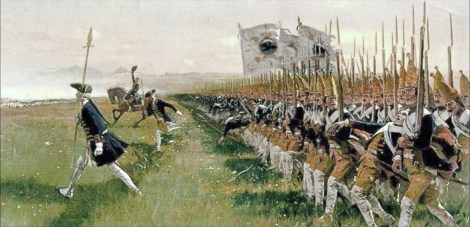 Attack of the Prussian Infantry at the Battle of Hohenfriedberg in 1745.
