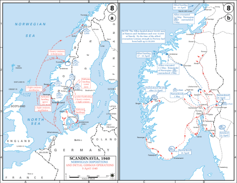 Initial German and Allied landings and operations in southern, central and northern Norway in April 1940.