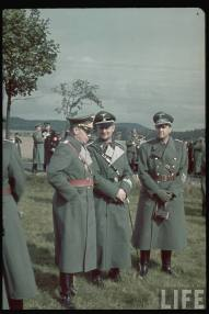 Three high Party leaders in military uniform at Czech bunkers during the time of the German invasion of the Sudetenland. R to L: Joachim von Ribbentrop, Karl Wolff, and Walther Hewel.