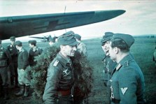 Hauptmann Josef Luxenburger (2 April 1915 - 5 September 2009) just back from a successful mission.