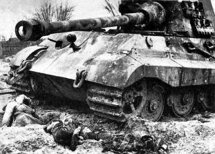 King Tiger on the Eastern Front with its crew dead.