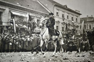 Admiral Horthy during the Hungarians' triumphant entry into Košice, November 1938.