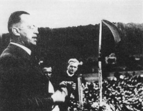 Henlein speaking in Carlsbad, 1937.