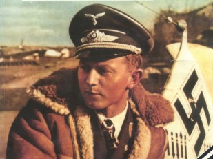 Major Walter Oesau with his Me 109.