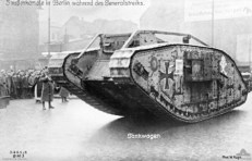 A British Mark IV tank, captured during the war, in use by Government troops. Berlin, January 1919.