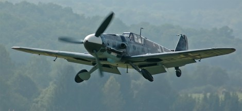 """A Hispano Aviación HA-1112 (c/n 156 C.4K-87 (D-FMBB), """"FM+BB""""), a license-built Messerschmitt Bf 109 G-2. Rebuilt by the EADS/Messerschmitt Foundation, Germany with a Daimler-Benz DB 605 engine as a G-6. The paint scheme is missing the Swastika, due to German law."""