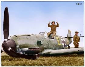 Messerschmitt Bf109 E-4 of Oberfeldwebel Fritz Beeck, 6.JG 51 Molders, Wissant, France. While escorting an attack over Manston airfield, force landed with damage to the fuel tank after combat with Hurricanes and Defiants near East Langdon in Kent, August 24, 1940.