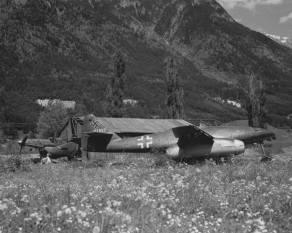 Messerschmitt Me 262 and a Junkers Ju 87 Stuka Munich Area, 1945.