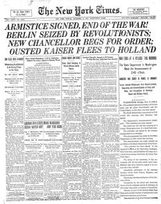 """Berlin seized by revolutionists"": The New York Times on Armistice Day, 11 November 1918."