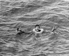 Obersteurmann Helmut Klotzch of U-175 waiting to be rescued after the submarine sank in the North Atlantic.
