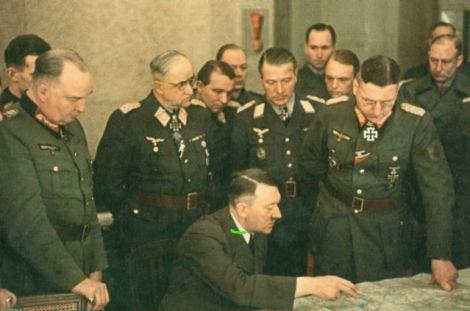 Adolf Hitler at the conference of Heeresgruppe Weichsel (Vistula), 3 March 1945. From left to right : Generalleutnant Wilhelm Berlin, Generalfeldmarschall Robert Ritter von Greim, Adolf Hitler, Generalmajor Franz Reuß, General der Flakartillerie Job Odebrecht, General der Infanterie Theodor Busse and SS-Obergruppenführer Matthias Kleinheisterkamp.