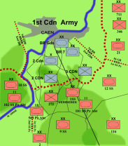 The starting lines of Operation Spring, Waffen-SS units identified are the 1 SS, 9 SS, 10 SS, 12 SS Divisions and the 101 and 102 SS Heavy Panzer Battalions.